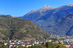 View in Bellinzona, Switzerland. View in the city of Bellinzona, Switzerland, mountain Pizzo di Claro (also known as Visagno)  in the background. The city of Stock Photo
