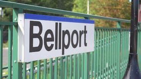 A view of the Bellport, NY train platform stock video
