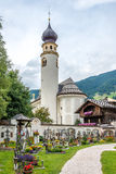 View at the belltowel of church San Michele in San Candido. Royalty Free Stock Images
