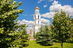 View on belltower of Iversky monastery in Samara in summer day Stock Image