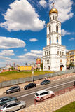 View on belltower of Iversky monastery in Samara in summer day Stock Photos