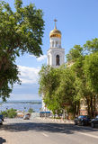 View on belltower of Iversky monastery and Volga river in Samara Stock Images