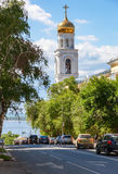 View on belltower of Iversky monastery and Volga river in summer Stock Photo