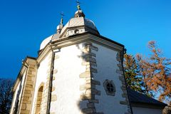View from below on the centuries-old cloistered church.  Royalty Free Stock Images