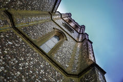 View from below of a church tower in England Royalty Free Stock Images