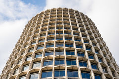 View from below of a cylindrical office skyscraper Stock Photo