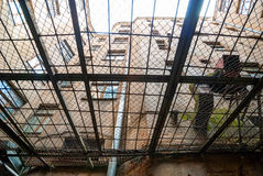 View from below of kgb prison yard in Riga Stock Images