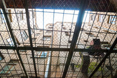 View from below of kgb prison yard in Riga Stock Photography