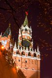 View from below on the Kremlin chimes at the Kremlin`s Spassky T Royalty Free Stock Photos