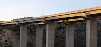 View from below of motorway stock photo