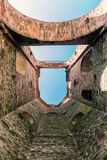 Bottom view of one of the towers that make up the walls of the m Royalty Free Stock Image