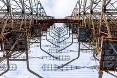 View from below radar Duga. Chernobyl, Ukraine. royalty free stock photos