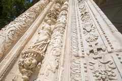 View from below of facade of ancient Museum of Santa Cruz in Tol Stock Photos