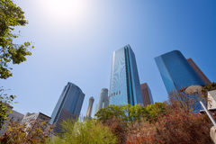 View from below of skyscrapers in downtown, LA Stock Images