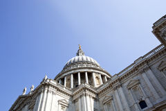 View from below of St. Paul's cathedral, London Royalty Free Stock Images