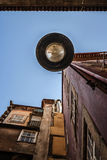 View from below at a street lamp, Porto, Portugal Royalty Free Stock Photos