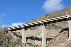 View from below of highway stock photography