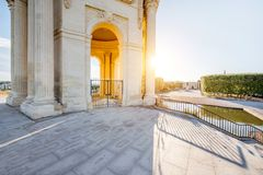 Montpellier city in France. View from below on the water tower in Peyrou garden during the morning light in Montpellier city in southern France royalty free stock image
