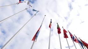View from below of waving Russian Federation flag half-mast. Strasbourg, France - Mar 28, 2018: View below flag of Russia flying half-mast at Council of Europe stock video footage