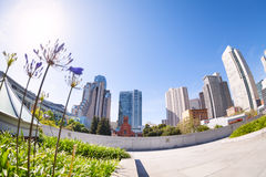View from below of Yerba Buena Gardens park, US Royalty Free Stock Photos