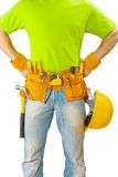 View on belt with tools on worker close up Royalty Free Stock Photo