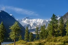 A view of the Belukha mountain from the valley of the Akkem River. Summer, good weather, snow tops stock photo