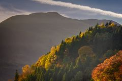 View of Ben Ledi With Autumn Trees in the Foreground, Callander royalty free stock image