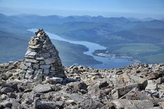 View from the Ben Nevis summit. Ben Nevis summit - the highest mountain in the United Kingdom Stock Image