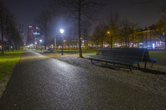 View on a bench in the Hague city centre. Royalty Free Stock Photo