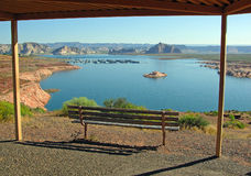 View bench overlooking part of Lake Powell. Royalty Free Stock Photos