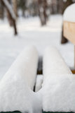 View of a bench in winter park Royalty Free Stock Photography