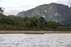 View of Beni river and rainforest of Madidi national park in the upper Amazon river basin in Bolivia, South America. Eco tourism boat tour on Beni river, view royalty free stock photo