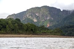 View of Beni river and rainforest of Madidi national park in the upper Amazon river basin in Bolivia, South America. Eco tourism boat tour on Beni river, view stock photo