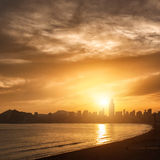 View of Benidorm on sunset, Spain Stock Images