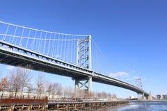 Benjamin Franklin Bridge, Philadelphia, Pennsylvania. View of the Benjamin Franklin Bridge, Philadelphia, Pennsylvania on cold winter day Stock Images