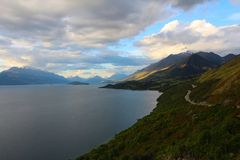 View from Bennetts Bluff Lookout, Lake Wakatipu, New Zealand. View from Bennetts Bluff Lookout, Lake Wakatipu, South Island, New Zealand royalty free stock photography
