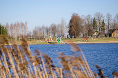View from bent to beach with children playground Royalty Free Stock Photo