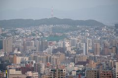 View of Kitakyushu City around Wakamatsu-ku in summer time. royalty free stock image