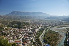View of berat town center in albania. View of berat town center and mountain in albania Stock Images