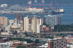 Durban Harbour and the city stock photography