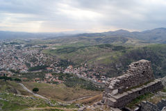 The view of Bergama city in Turkey. Ruins of pergam old city Royalty Free Stock Photography
