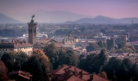 From the walls of Bergamo. View on Bergamo, Italy Stock Photography