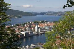 View of bergen city from Fløien, norway Stock Images