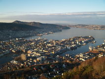 View of Bergen. From Fløyen in a sunny day Stock Photography