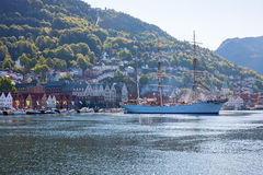 View of Bergen harbor in Norway Royalty Free Stock Photo