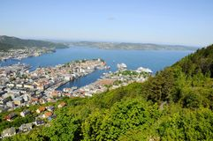 View of Bergen from Mount Floyen Stock Images