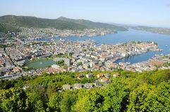 View of Bergen from Mount Floyen Stock Image