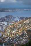 View of Bergen town seen from the summit of Mount Ulriken royalty free stock images