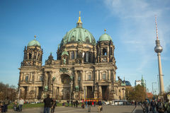 View of the Berlin Cathedral (Berliner Dom) is the largest Evangelical Church in Germany. BERLIN, GERMANY - NOV 17, 2014: View of the Berlin Cathedral (Berliner stock image