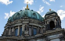 View of the Berlin Cathedral from the river Spree royalty free stock photos